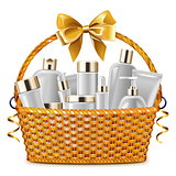 Vector Gift Basket with Cosmetic Packaging
