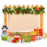 Vector Wooden Fence with Christmas Decoration