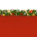 Vector Christmas Border with Knitted Pattern