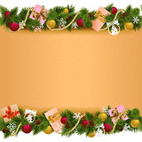 Vector Christmas Border with Paper Scroll
