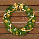 Vector Christmas Wreath on Wooden Board 1