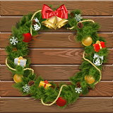 Vector Christmas Wreath on Wooden Board 2