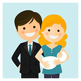 Family with a newborn baby on blue background
