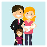 Family with a son and a newborn baby on blue background