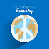 International peace day with symbol of peace on Earth