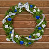 Vector Christmas Wreath on Wooden Board 3