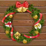 Vector Christmas Wreath on Wooden Board 4