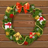 Vector Christmas Wreath on Wooden Board 5