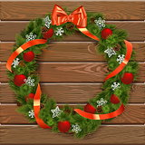Vector Christmas Wreath on Wooden Board 7