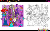 wizard characters group coloring book
