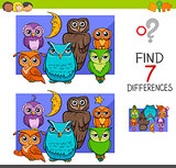 spot the differences with cute owl birds