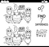 spot the difference with owls coloring book