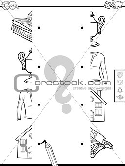 match objects halves coloring page