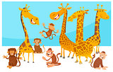 safari wild animal characters cartoon