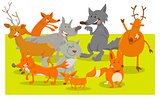 wild forest animal characters cartoon