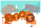 safari animal characters cartoon