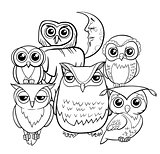 owls group cartoon characters coloring book