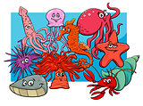 sea life group cartoon animal characters