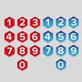 Number set hexagon button