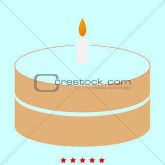Cake with candle it is icon .