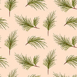 Pine tree branches on pale pink background pattern.