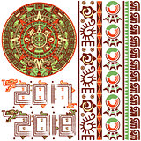 Aztec Calendar with Ornaments