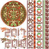Aztec Calendar with Ornaments