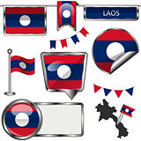 Glossy icons with flag of Laos