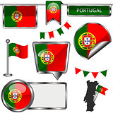 Glossy icons with flag of Portugal
