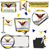 Glossy icons with flag of San Francisco