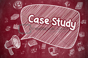 Case Study - Cartoon Illustration on Red Chalkboard.