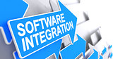 Software Integration - Inscription on Blue Cursor. 3D.