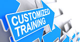 Customized Training - Inscription on Blue Arrow. 3D.
