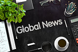 Global News on Black Chalkboard. 3D Rendering.