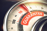 Guarantee - Text on Conceptual Gauge with Red Needle. 3D.