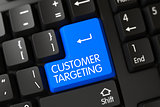 Customer Targeting CloseUp of Blue Keyboard Button. 3D.