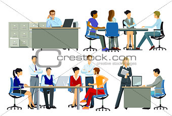 Office workplace, group of people at workplace, illustration
