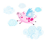 Funny vector drawing of a pink piggy