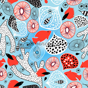Abstract bright pattern with coral and fish