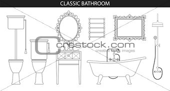Classic old style furniture for the bathroom.