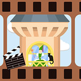 Cinema frame with green witch and black cat on the balcony of a medieval tower.