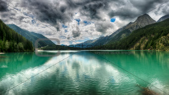 Anterselva, Landscape of the lake in the mountains