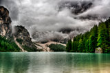 Lake of Braies in a cloudy morning