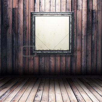 3D grunge wood interior with blank picture frame