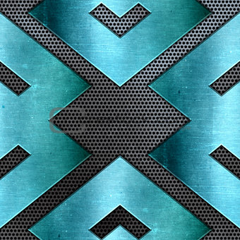 Abstract metal background with shiny teal texture