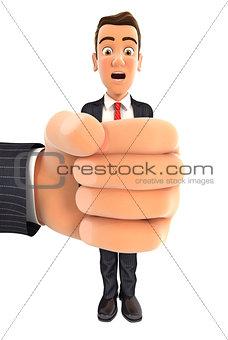 3d big hand squeezing businessman
