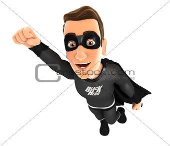 3d black hero flying