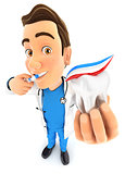3d doctor brushing his teeth and holding tooth
