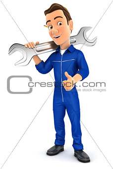 3d mechanic carrying wrench on shoulder