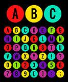 Round icons alphabet.